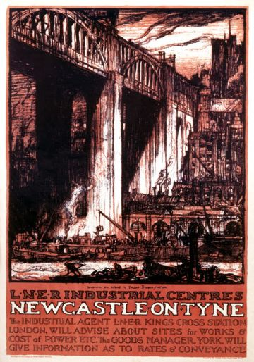 Newcastle on Tyne, Northumberland, LNER Industrial Centres. Vintage Travel Poster by Sir Frank William Brangwyn